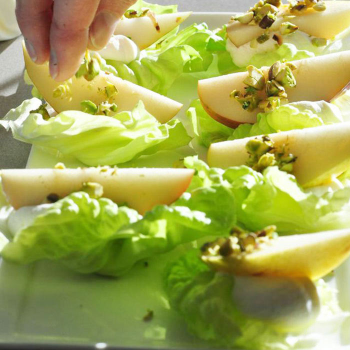 Butter Lettuce Bites With Comice Pear, Goat Cheese Mousse, and Pistachios