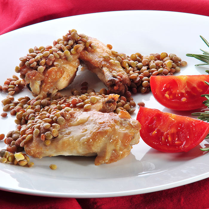 Roast Chicken with Lentils and Turnips