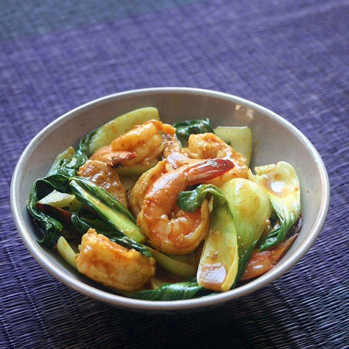 Coconut Curried Shrimp with Bok Choy