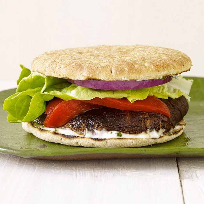 Grilled Portobello Burger with Basil Mayo