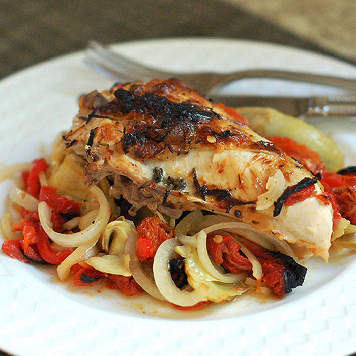 Roasted Chicken with Artichokes, Peppers, and Sun-Dried Tomatoes