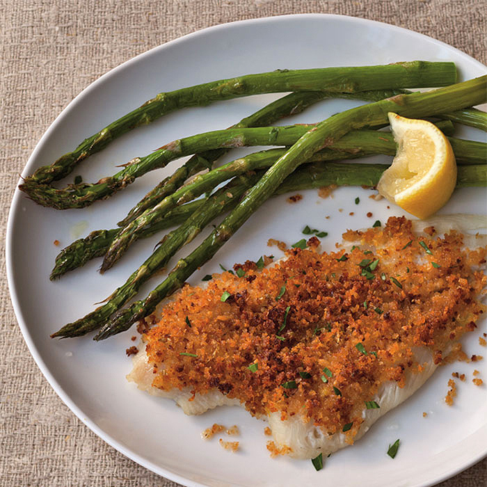 Sole with Bread Crumb Topping and Roasted Asparagus