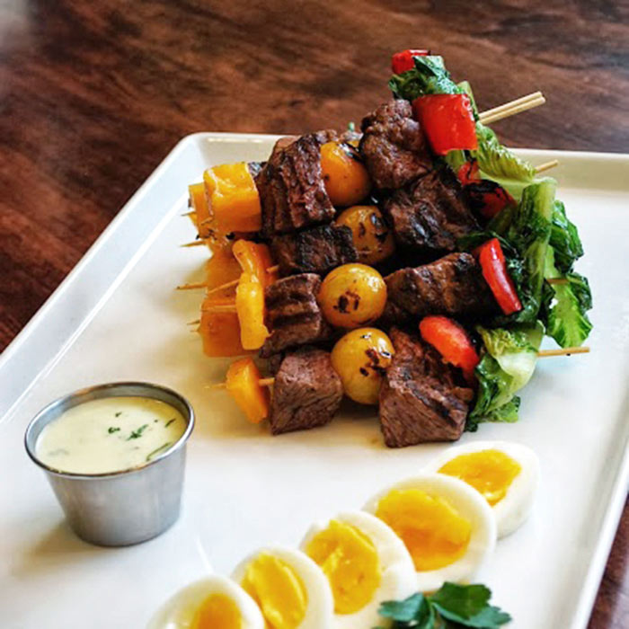 Sirloin Steak Kebabs with Ranch Dressing