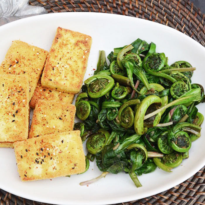 Pan Fried Tofu with Ramps and Fiddleheads