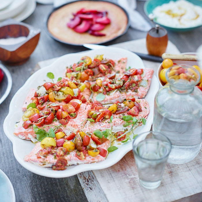 Grilled Salmon With Tomatoes and Capers