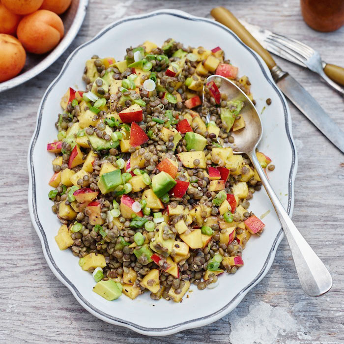 Lentil Salad with Nectarines and Avocado