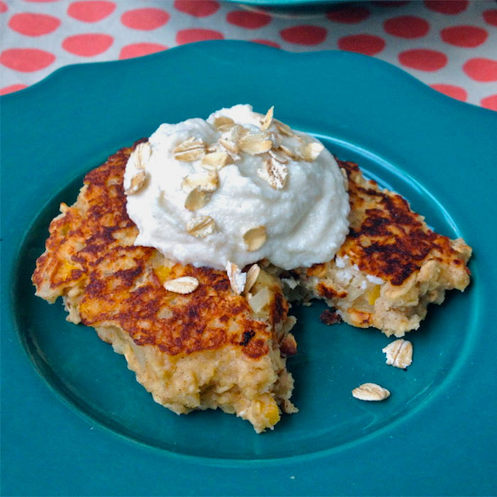 Oatmeal Griddle Cakes with Whipped Ricotta Topping