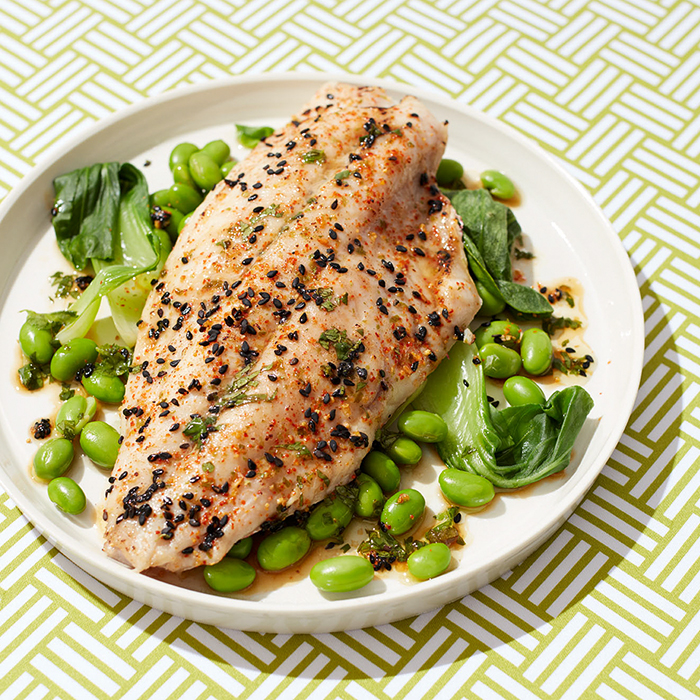 Sesame Seed Red Snapper With Bok Choy and Edamame
