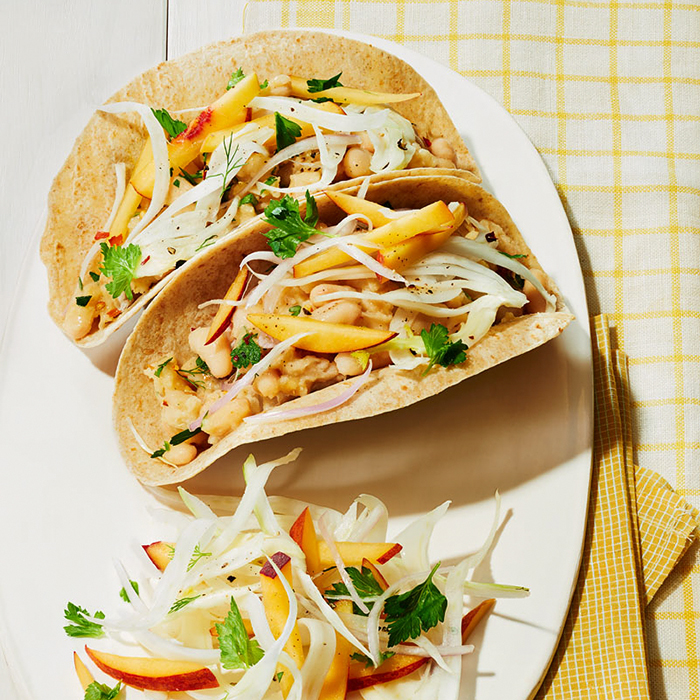 White Bean Tacos with Peach-and-Fennel Slaw