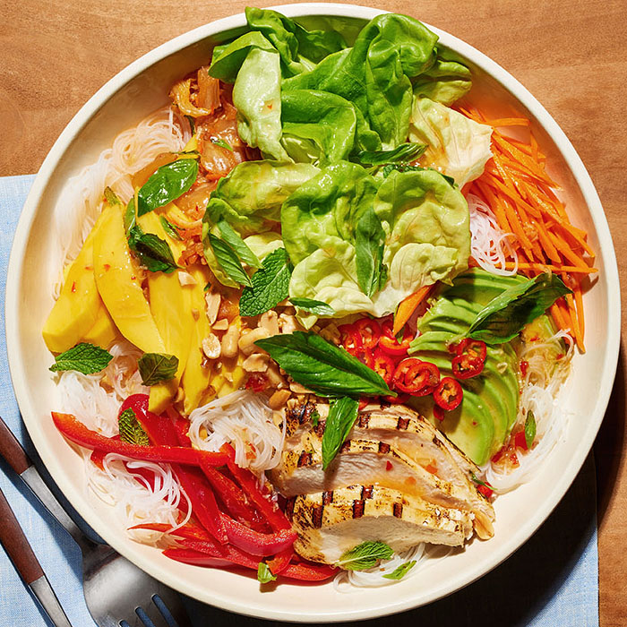 Deconstructed Chicken-Mango Summer Roll Salad