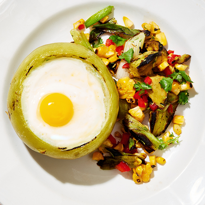 Green Tomato Egg Cups With Grilled Salsa