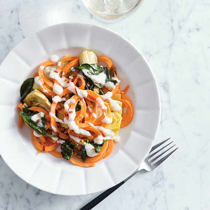 Creamy Spinach and Artichoke Sweet Potato Pasta