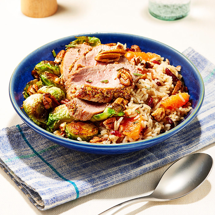 Basmati Rice Bowls with Mustard-Rubbed Pork and Brussels Sprouts