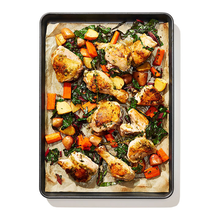 Jamaican-Spiced Chicken and Crispy Swiss Chard