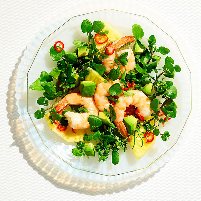 Poached Shrimp With Cress, Herbs, and Pineapple