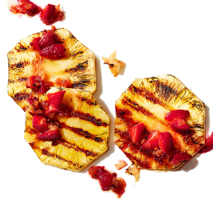 Charred Pineapple with Strawberry & Pink Peppercorn Relish