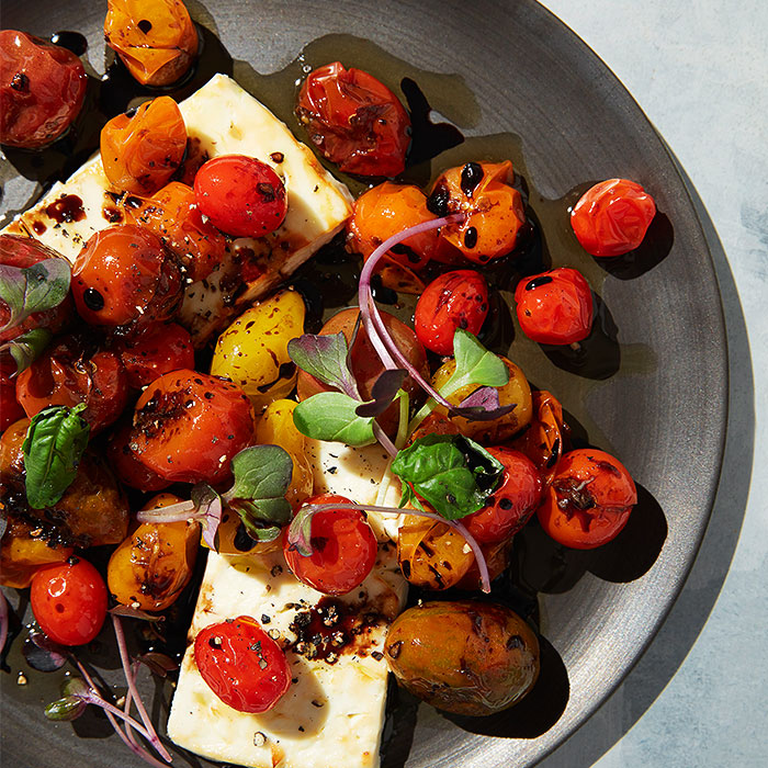 Candied Grape and Cherry Tomatoes With Baked Feta