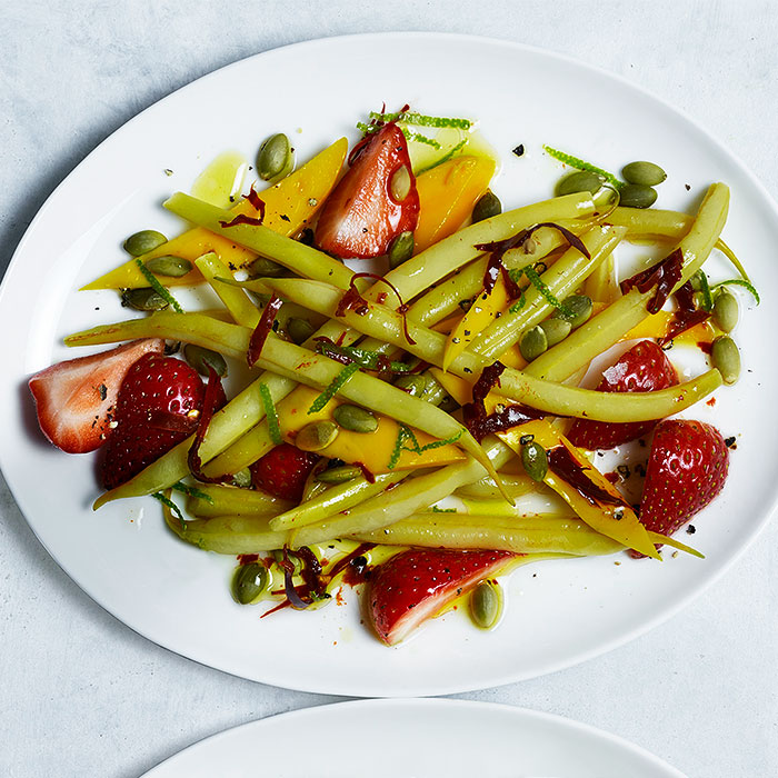 Strawberry, Mango, and Wax Bean Salad With Chile Vinaigrette