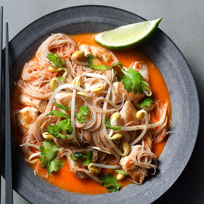 Ginger and Red Chili Chicken Laksa with Rice Vermicelli