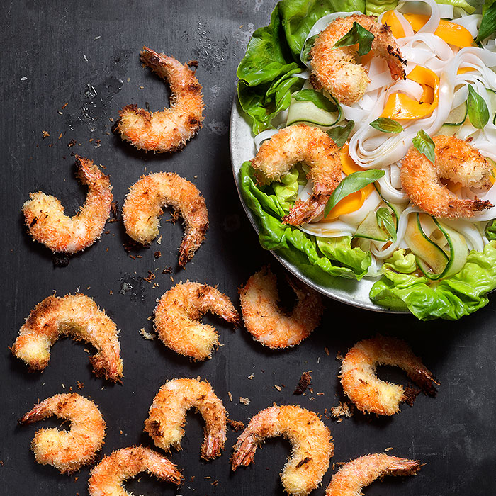 Broiled Coconut Shrimp with Cold Sesame Rice Noodle Salad