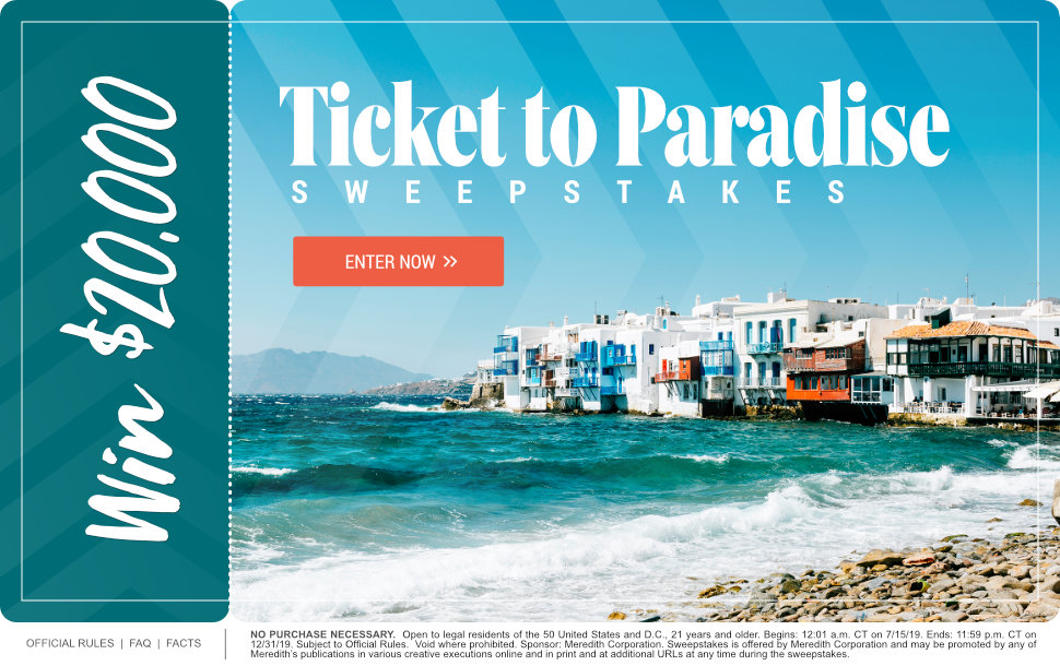 Ticket to Paradise $20,000 Sweepstakes