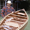 Handcrafted wood canoe