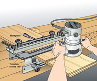 Dovetail jig does an about-face as router guide