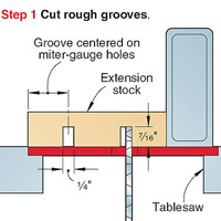 Step 1 miter-gauge extension