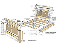 Arts & Crafts bed plan exploded view