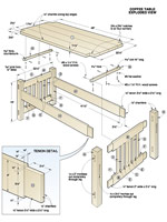 Arts and Crafts Coffee Table and Ottoman Woodworking Plan