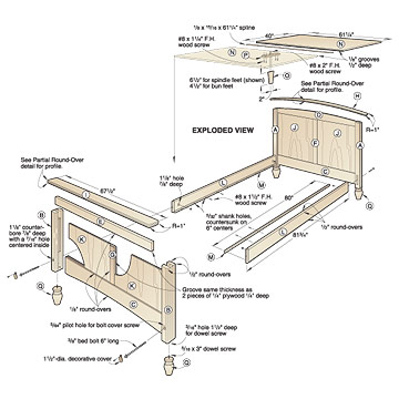 plans for wooden queen size bed