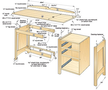 Kid's Oak Desk Woodworking Plan