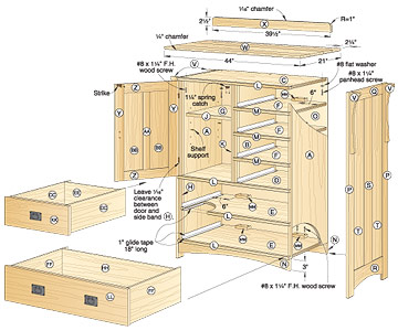 blueprints wood dresser