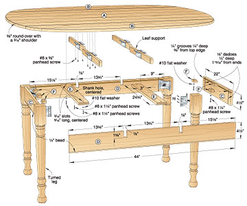 Hidden Leaf Table Plans Woodideas