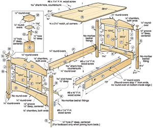 Kid's Oak Bunk Beds Woodworking Plan