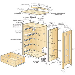 Kid's Oak Dresser Woodworking Plan