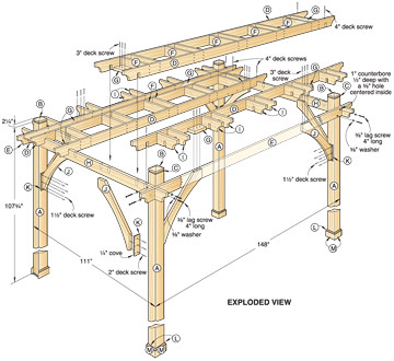 Woodwork plans pergola pdf plans for Parts of a pergola