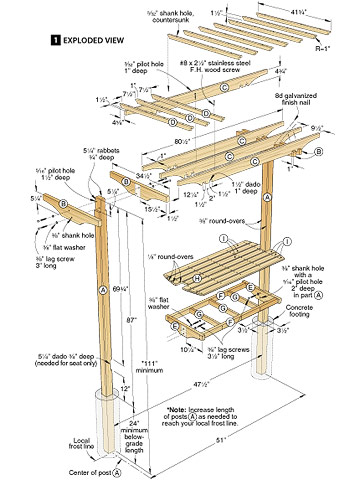 Woodwork garden bench trellis plans pdf plans for Plans for arbors