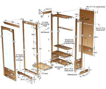 Plans for wooden display cabinet