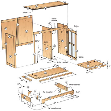 bookcase plans with doors