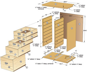 Shop Organizer with Drawers Woodworking Plan