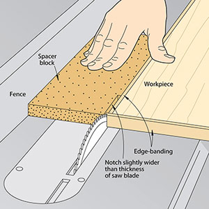 Clean up edge banding using your tablesaw