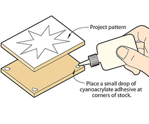 Keep stacked scrollsawn parts together with a dab of glue