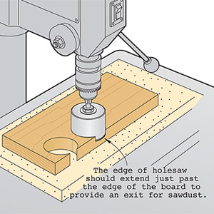 Reposition holesaw to end sawdust woes