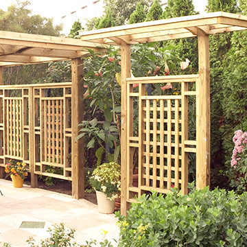 Backyard ideas on pinterest magnolias pergolas and trellis for Wooden garden screen designs