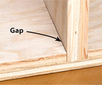 Gap in side of board