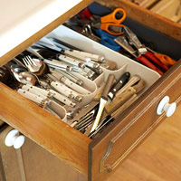 Disorgazized silverware drawer