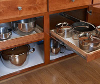 Organzied pans under drawer