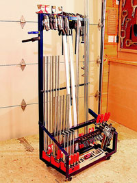 Clamps in a metal rack