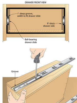 2 illustration, drawer/ one w/drawer rails